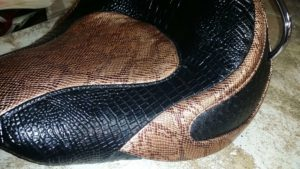 Close Up Snakeskin 2 Tone Motorcycle Seat