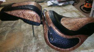 Snakeskin 2 Tone Motorcycle Seat