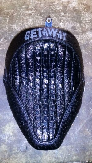 Custom Getaway Black Alligator Motorcycle Seat