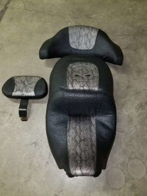Snakeskin Motorcycle Seat with Skull Face
