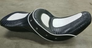 Black and White Alligator Motorcycle Seat