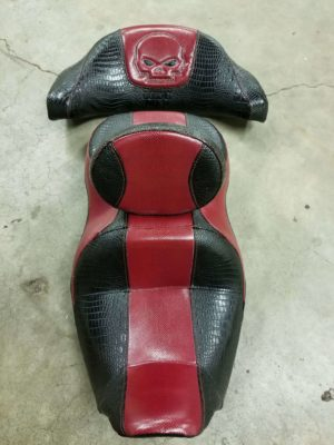 Black Alligator Red Leather Skull Motorcycle Seat