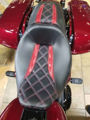 Black Leather with Red Accent Leather Motorcycle Seat