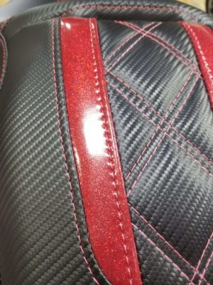 Close Up Black Leather with Red Accent Leather Motorcycle Seat