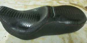 Black Alligator Motorcycle Seat with Red Thread