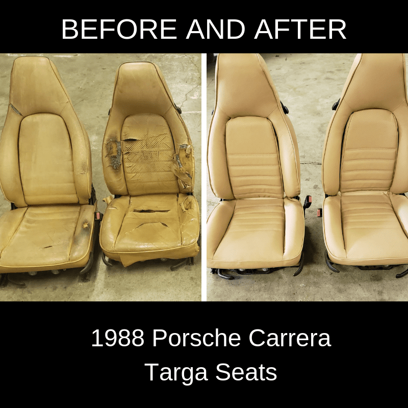 1988 Porsche Carrera Targa seats BEFORE AND AFTER