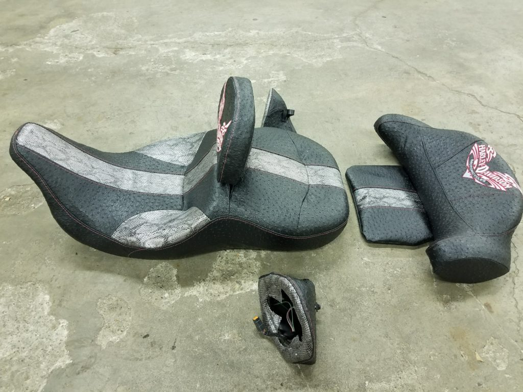 Custom Motorcycle Seats with Speaker Pods